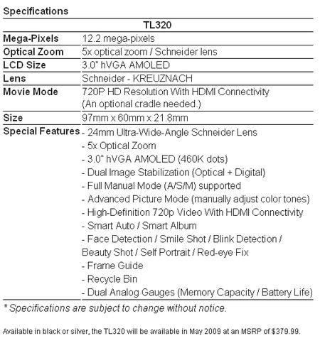 TL320 Specs