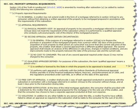 HR 1728 Sec. 601 Property Appraisal Requirements