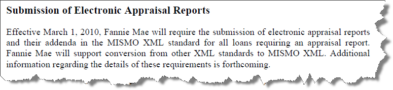 Submission of Electronic Appraisal Reports
