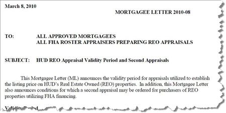 Appraisal Scoop HUD Mortgage Letter 201008 REO Appraisal – Letter of Appraisal