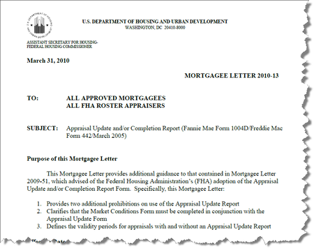 Appraisal Scoop HUD Mortgagee Letter 201013 Market Conditions – Letter of Appraisal