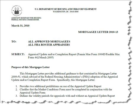 HUD Mortgagee Letter 2010-13