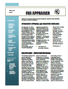 FHA Newsletter