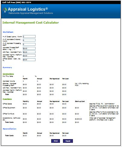 Appraisal Logistics Internal Management Cost Calculator