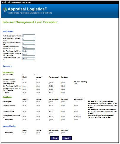 Appraisal Logistics Internal Management Cost Calculator