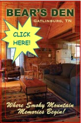 Book your Gatlinburg Vacation at the Bear's Den TODAY!