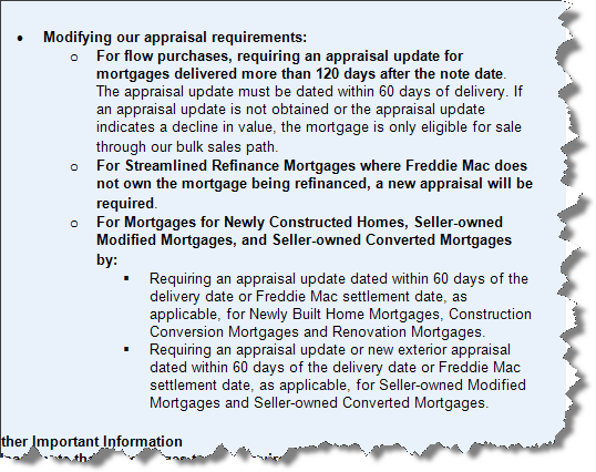 appraisal scoop  freddie mac modified appraisal requirements